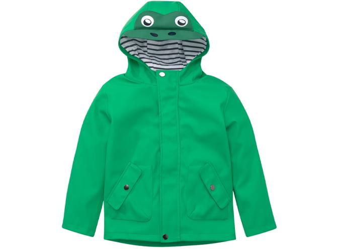 Baby Regenjacke grün mit Augen auf der Kapuze