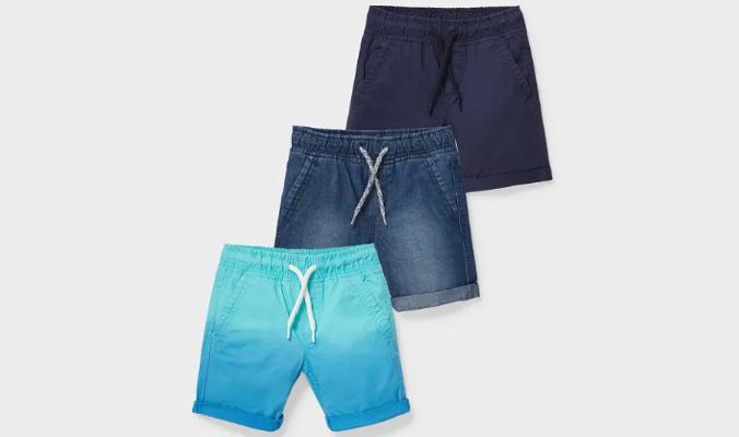 3er - Baumwoll- und Jeans-Shorts