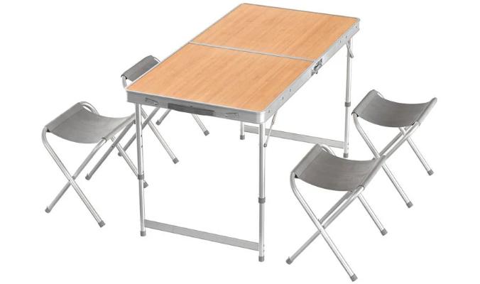 Klappmöbelset, Tisch mit 4 Hockern