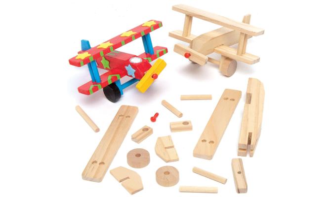 Holzflugzeug-Bastelsets - für Kinder zum Basteln und Bemalen