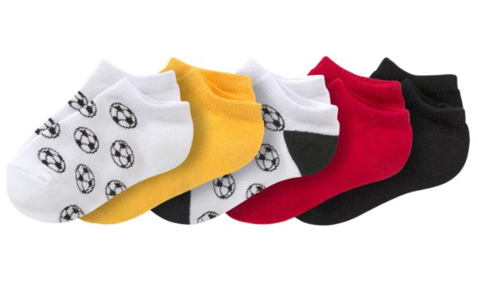 5 Paar Baby Sneaker-Socken im Fußball-Dessin