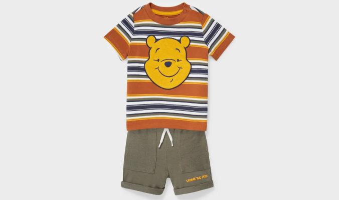 Baby-Outfit im gestreiften Winnie-Puh-Design