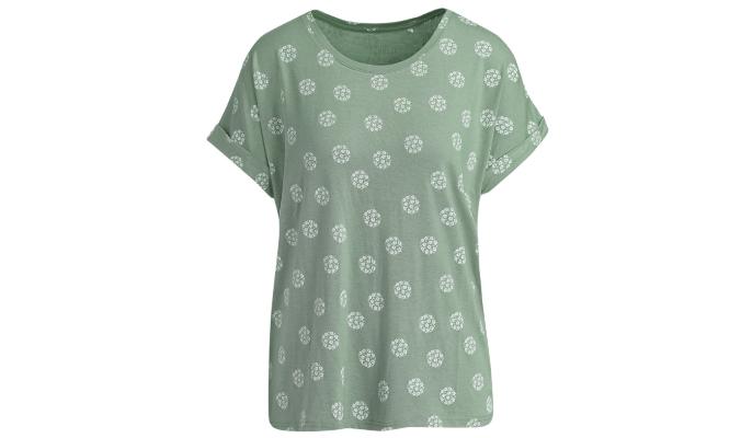 Damen T-Shirt mit Allover-Print Oliv