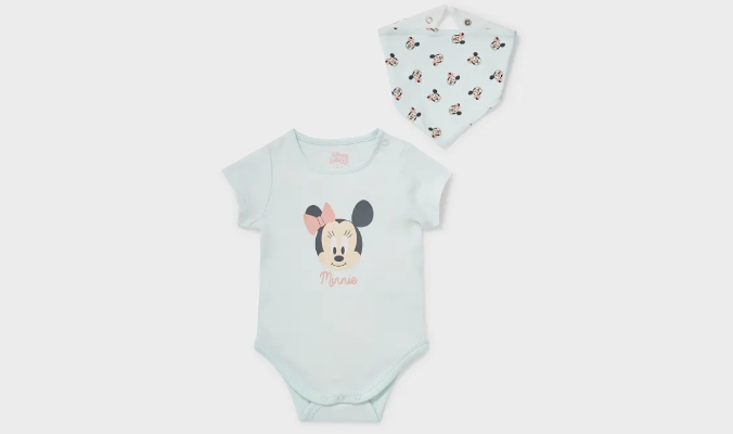 Minnie Maus - Set - Baby-Body und Dreieckstuch
