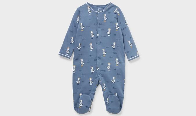 Baby-Schlafanzug mit niedlichem Möwen-Allover-Print