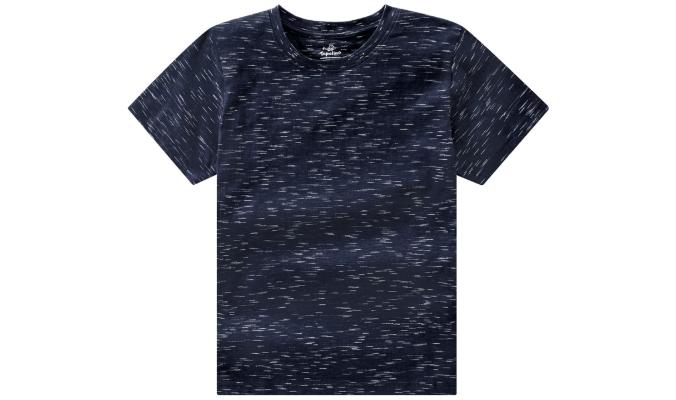 Dunkelblaues T-Shirt mit Flammgarn