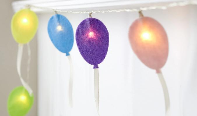 15er Luftballon Lichterkette aus Filz