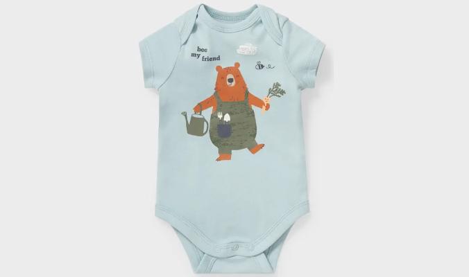 Baby-Body mit Bären- und Bienchen-Print
