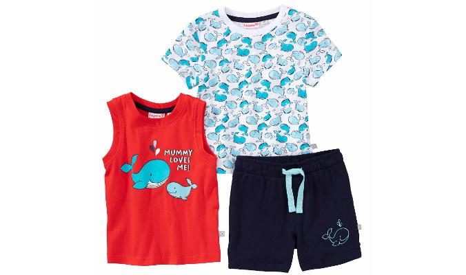 Baby-Jungen-Set mit Meeresbewohnern, 3-teilig