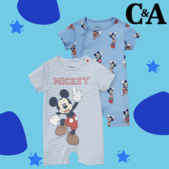 2er - Micky Maus - Baby-Jumpsuit