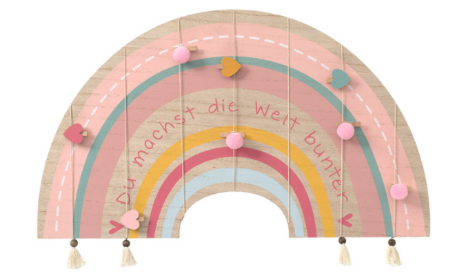 Wandboard im Regenbogen-Dessin