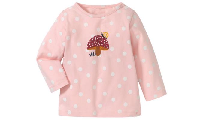 Newborn Langarmshirt mit Pilz-Motiv