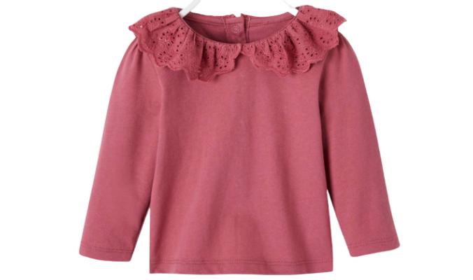Baby Mädchen Shirt, Rüschenkragen