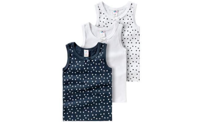 3 Baby Unterhemden mit Zierschleife