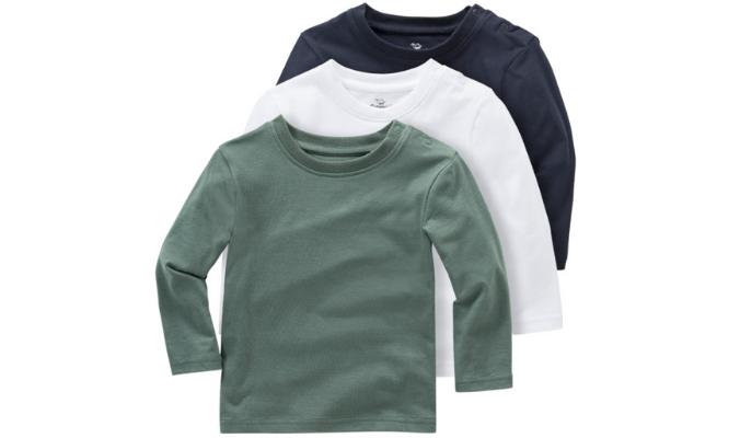 3 Baby Langarmshirts im Basic-Look