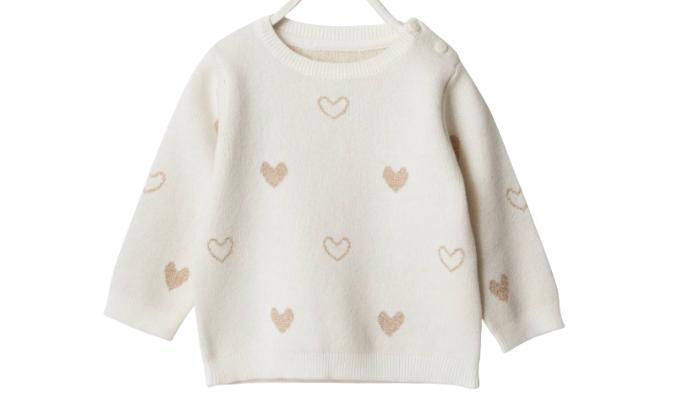 Baby Pullover, Jacquard-Herzen