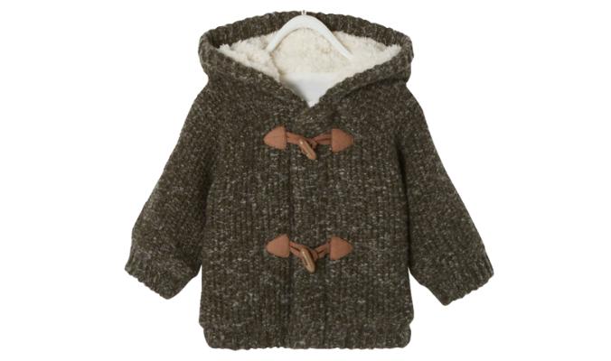 Gefütterte Mädchen Baby Kapuzenstrickjacke - khaki