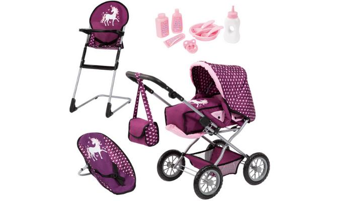 Kombi Grande Set Einhorn lila mit Puppenwagen