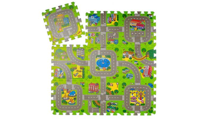 Puzzlematte Straße mit Tieren