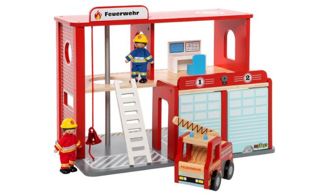 Feuerwehrstation Holz mit Zubehör