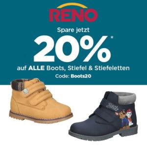 20% auf Boots, Stiefel und Stiefeletten bei RENO