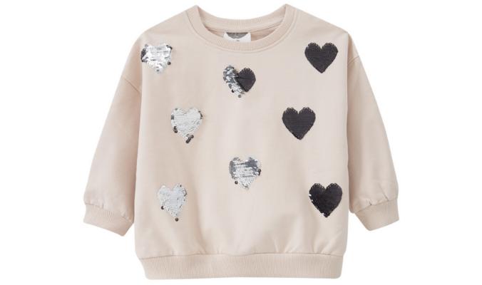 Sweatshirt mit Wendepailletten-Herzen