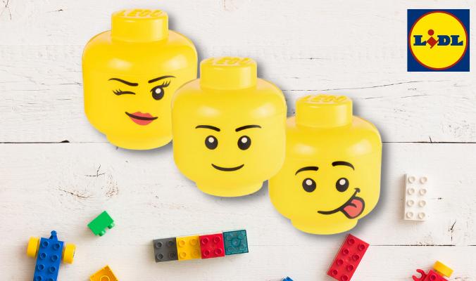Aufbewahrungsbox in Legokopf-Form